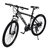 26' 21-Speed Mountain Bike, Junior Outdoor Racing Cycling Bicycle, Trigger Shifter Dual Disc Brake Front Suspension MTB Bikes for Men...