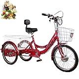 Eléctrico Triciclo para Adultos Bicicleta de 3 Ruedas Triciclo para Padres batería de Litio 48V20AH Tres Rondas con Cesta Trasera Salida de Compras Triciclo eléctrico Pedal de 3 Ruedas Hombres