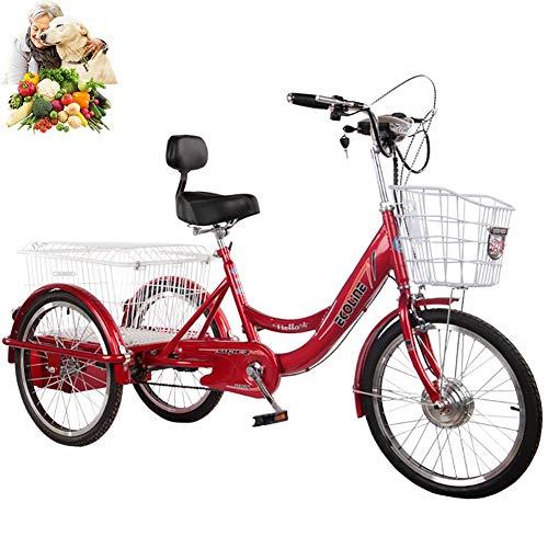 Triciclo Triciclo eléctrico para Adultos Bicicleta de 3 Ruedas para Padres batería de Litio 48V20AH Tres Rondas con Cesta Trasera Salida de Compras Triciclo eléctrico Pedal de 3 Ruedas Hombres