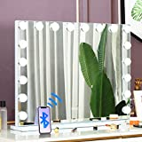 COOLJEEN 39.3' Hollywood Makeup Mirror with 18 LED Bulbs Large Lighting Cosmetic Vanity 3 Color Lighting Modes Makeup Mirror with USB Charging Port & Bluetooth (White)