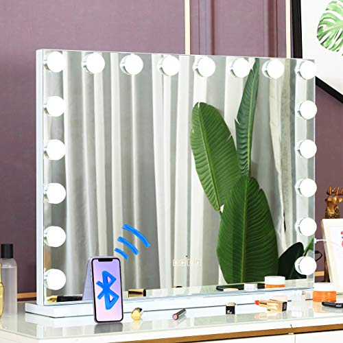 """COOLJEEN 39.3"""" Hollywood Makeup Mirror with 18 LED Bulbs Large Lighting Cosmetic Vanity 3 Color Lighting Modes Makeup Mirror with USB Charging Port & Bluetooth for Tabletop or Wallmount (White)"""