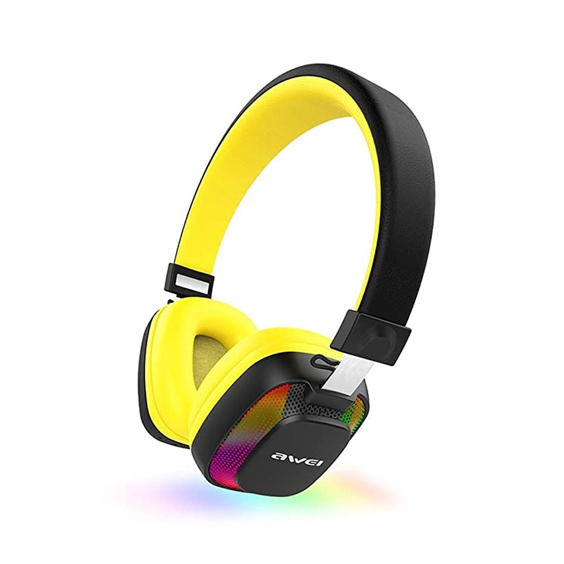 取り壊すピニオン取り消すEJ ワイヤレスBluetooth over Earステレオ折りたたみ式ヘッドフォン、ソフトメモリプロテインイヤーマフ付きワイヤレスおよびワイヤードモードヘッドセット、携帯電話PCラップトップ用内蔵マイク (Color : Yellow)