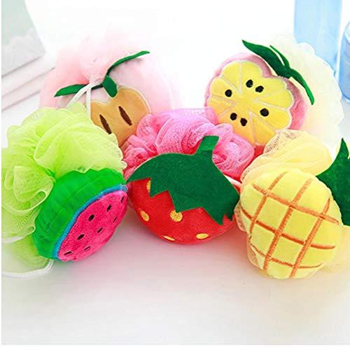 Aisoway Fruit Doux Forme de Bain Puff Douche éponge Balle Corps en Mousse Bubble Net Boule Scruber