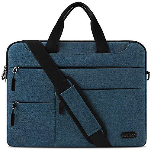 Laptop Shoulder Bag 15.6 Inch Laptop Case Portable Sleeve Briefcase Waterproof Computer Messenger Bag Lightweight Carrying School Work Men Women Blue