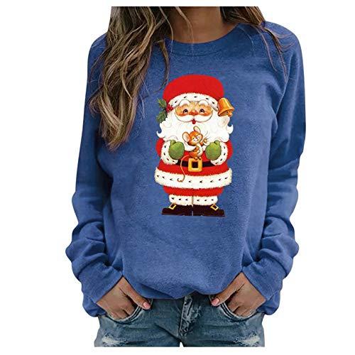 SicongHT Weihnachten Langarmshirt Damen, Frauen Weihnachtsmann Bluse...