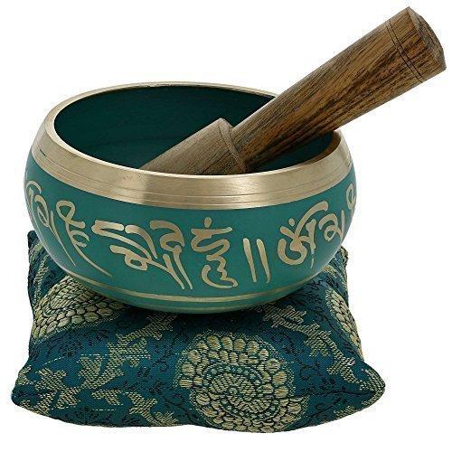 Tibetische Klangschalen von YouCan im Set, inklusive Klangschale, Kissen und Klöppel, für Heilung, Meditation, Gebet und Yoga 4 inch grün