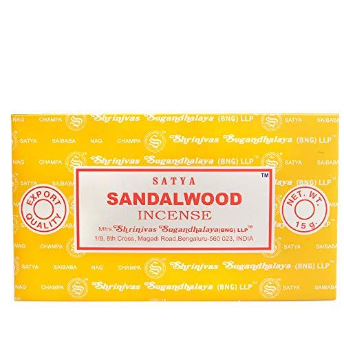 Bastoncini di incenso Satya al sandalo, 15 g, confezione da 12 confezioni