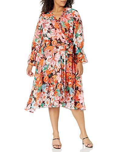 Tahari ASL Women's Petite Long Sleeve Surplus Wrap Dress with Smocking Detail, Coral Pink Floral, 2P