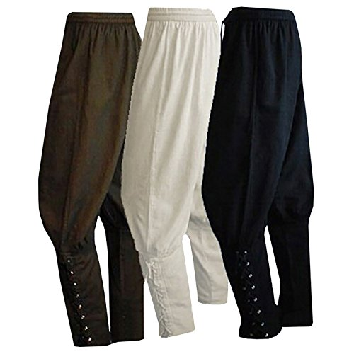 Men's Ankle Banded Pants Medieval Viking Navigator Pirate Costume Trousers Renaissance Gothic Pants, Coffee, Large