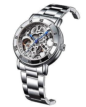Women s Watches Automatic Steampunk Self Winding Mechanical Silver Bracelet Ladies Skeleton Wrist Watch  Silver