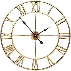 Infinity Time & Co 24INCH Round Oversized Roman Numeral Large Decorative Home Decor Silent Non-Ticking Metal Wall Clock -Retro Distressed Rustic Gold