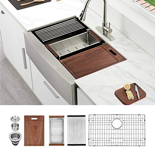 """33 Farmhouse Sink, HERCATE 33"""" x 22"""" Stainless Steel Workstation Kitchen Sink, Ledge Kitchen Sink Single Bowl Apron front Kitchen Sink with Integrated Ledge"""