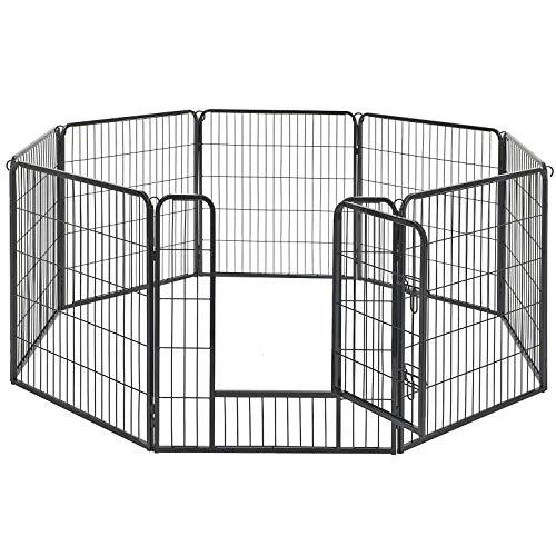 FEANDREA ペットサークル 中大型犬用 ペットフェンス 全成長期使用可 室内外兼用 カタチ変更可 犬ゲージ パネル8枚 折り畳み式 組立簡単 PPK88H