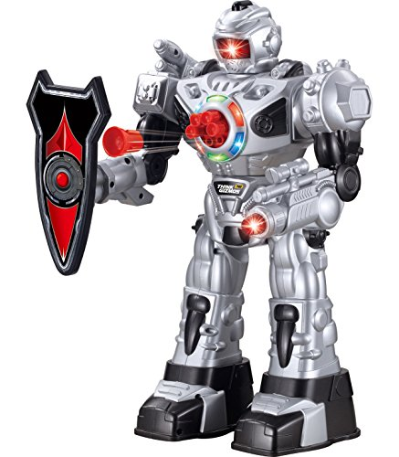 Think Gizmos Large Remote Control Robot for Kids – Superb Fun Toy RC Robot – Remote Control Toy Shoots Missiles, Walks, Talks & Dances (10 Functions) (Silver)