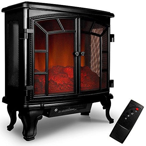 Elektrokamin Elektrischer Kamin mit Heizung Doppeltür LED Kaminfeuer Effekt Fernbedienung 2000 W E-Kamin schwarz