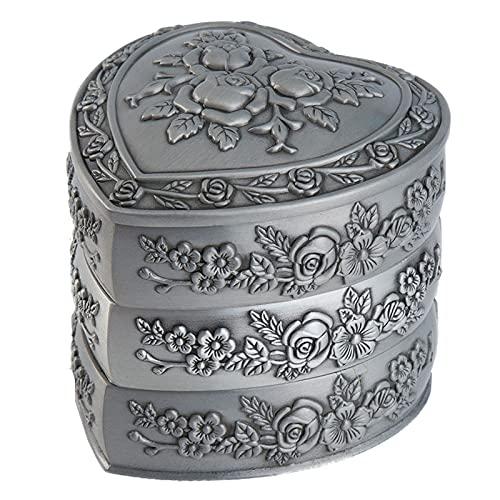 Timagebreze Joyero Vintage Caja de Regalo Vintage de Metal Rectangular, Organizador de Joyas para NiiAs o Mujeres (Tres Pisos)