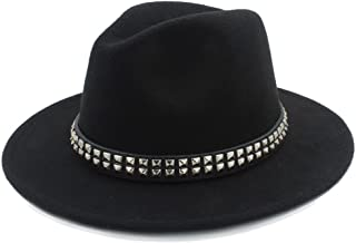 RongAi Chen Women Men Wool Fedora Hat For Gentleman Lady Jazz Hats With Punk Ribbon