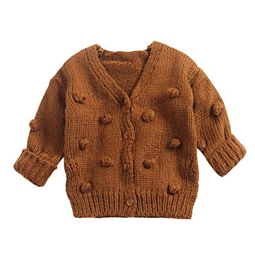 Toddler Newborn Baby Boys Girls Pompoms Soft Cardigan Sweater Kids Warm Knitted Pullover Tops Winter Clothes Brown 3T90