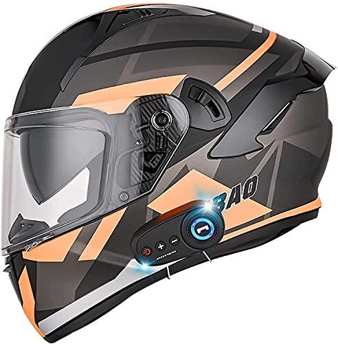 Casco De Motocicleta Con Bluetooth, Doble Visera, Cara Completa Motocicleta Locomotora Aprobado Por ECE Altavoz Incorporado Auricular, Micrófono Para Respuesta Automática 5,XL=61-62CM
