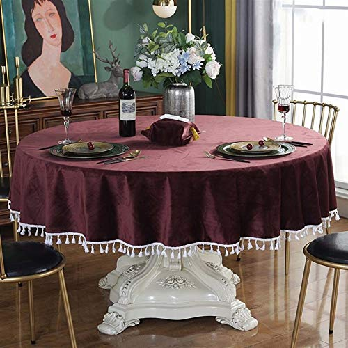 YFZ Round Tablecloth, Green Luxury Velvet Table Cover, Table Clothes Are And 8 Sizes Of Cloth Tablecloth(Size:260cm,Color:purple)