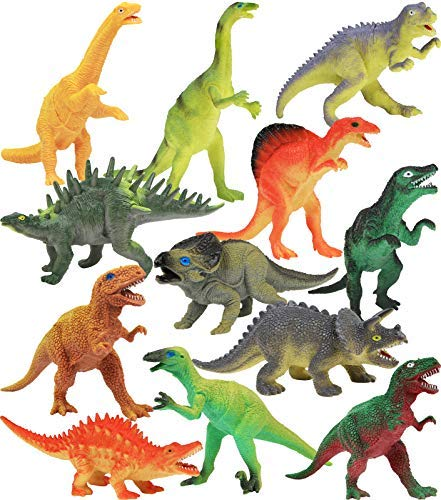 "Click N' Play Dinosaur Realistically Designed Jumbo 7"" Dinosaur Play Set Pack of 12"