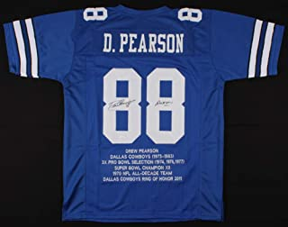 Drew Pearson #88 Signed Career Highlight Stat Jersey Inscribed