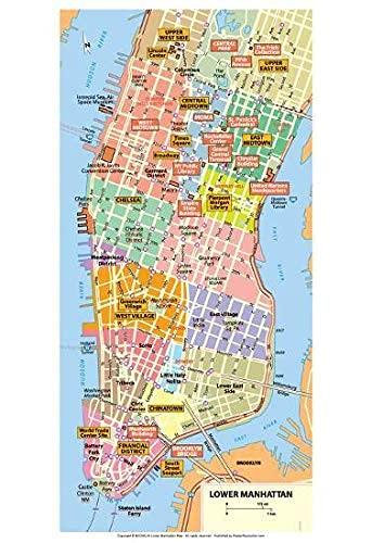 Wooden Hearts Michelin Official Lower Manhattan NYC MAP Kunstdruck Poster Poster Kein Frame Board für Büro-Dekor, Familie und Ihre Freunde 11,7 * 16,5 Zoll