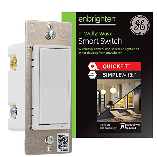 GE Enbrighten Z-Wave Plus Smart Light Switch with QuickFit and SimpleWire, Works with Alexa, Google Assistant, SmartThings, Wink, Zwave Hub Required, Repeater/Range Extender, 3-Way Ready, White, 47336