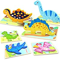6-Pack WOOD CITY Dinosaur Wooden Educational Puzzles