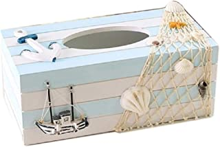 Eonyea Wood Tissue Box Cover Shell Fishnet Beach Pumping Tray Tissue Holders (Boat)