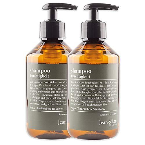 Jean & Len Shampoo Feuchtigkeit, Rosemary & Ginger, Feuchtigkeitsspender für trockenes, sprödes Haar, ohne Parabene und Silikone, 2er Pack (2 x 300 ml)