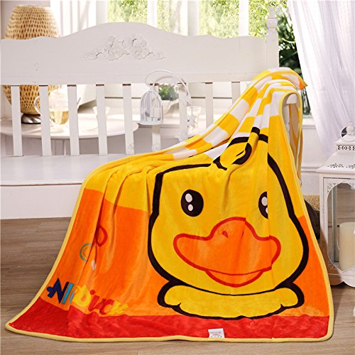Baby Grow Kids Cartoon Flannel Blanket Throw (140 cm X 100cm) (Ducky-Yellow)