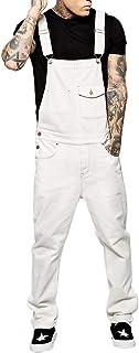 Huyghdfb Mens Denim Dungaree Bib Overalls Jumpsuits Moto Biker Suspender Jeans Pants Long Trousers