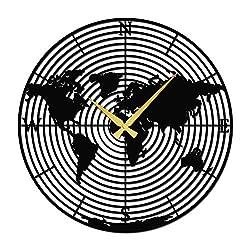 Venovez Metal World Map Clock, World Map Wall Art, Metal Clock Art, 22, 55cmx55cm, Metal Decor