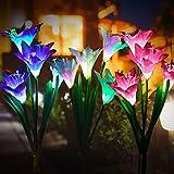 Lumières solaires extérieures fleur PUZ Toy panneau solaire batterie externe Lumières jardin féeriques Lampes Solaires 3 pack avec 7 fleurs de lis lampe led couleur Changement décoration pelouse Cour
