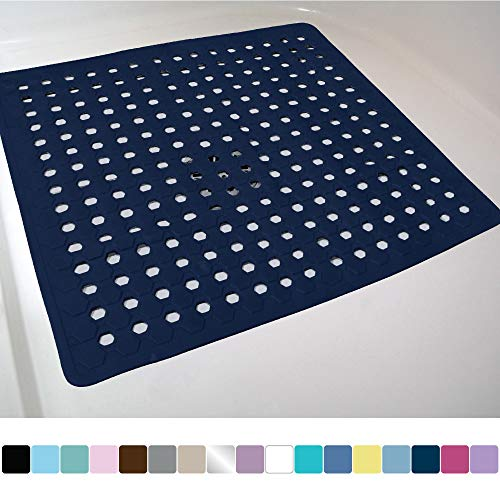 Gorilla Grip Original Patented Bath, Shower, and Tub Mat (21x21), Machine Washable, Antibacterial, BPA, Latex, Phthalate Free, Square Bathroom Mats with Drain Holes, Suction Cups (Navy Opaque)