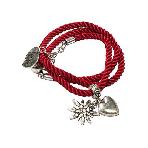 Alpenflüstern Trachten-Wickelarmband Edelweiß - Damen-Trachtenschmuck, Trachtenarmband, Kordel-Armband rot DAB026