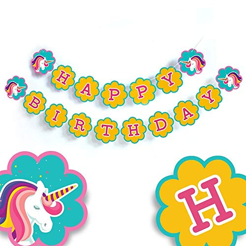 Unicorn Birthday Party Banner Unicorn Happy Birthday banner Unicorn Birthday Sign Unicorn Birthday Happy Birthday Banner Unicorn party Decorations yellow pennant banner unicorn theme