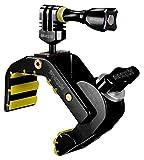 iSHOXS Shark, fijación universal Heavy Duty, soporte adecuado para GoPro, diseño abierto en forma de C y zona de sujeción de 28-65 mm, inserciones de silicona para un agarre seguro, diseño completamente de aluminio-negro