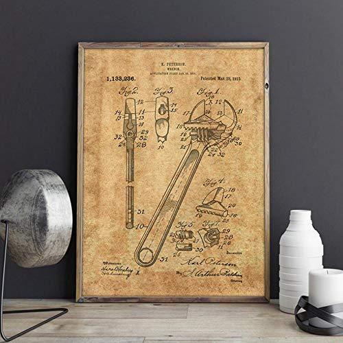 Llave inglesa Llave ajustable Patente Wall Art Print Garaje Carteles Mecánico Hombre Cueva Decoración Vintage Blueprint Canvas Painting Gift 16x20inch (40x50cm)