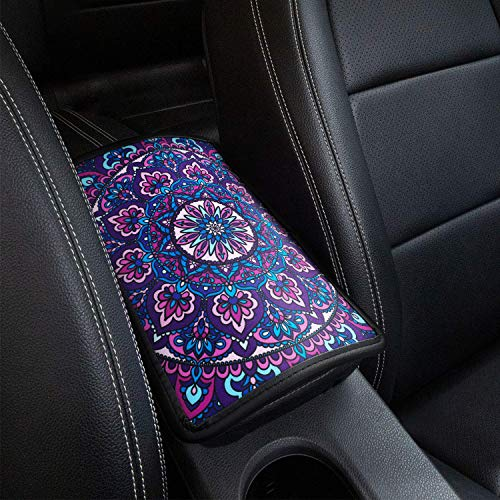 Car Armrest Cover, SUHU Universal Center Console Cover Pad, Soft Comfort Armrest Seat Box Cover Protector Fit for SUV/Truck/Car, Stylish Pattern Printed Console Cover Pad, Purple Lotus