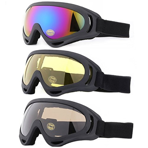 Ski Goggles, Yidomto Pack of 3 Snowboard Goggles for Kids,Boys,Girls,Youth, Mens,Womens,with UV Protection,Windproof,Anti Glare