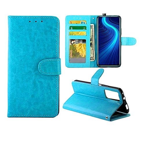 Huawei Cases for Huawei Honor X10 5G Crazy Horse Texture Leather Horizontal Flip Protective Case with Holder & Card Slots & Wallet & Photo Frame Huawei Cases (Color : Baby Blue)