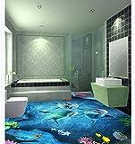 Murales personalizados, Adhesivos de pared extraíbles Acuario 3D Ocean World-150 * 105Cm Vinilo extraíble Pvc Ladrillo Piedra