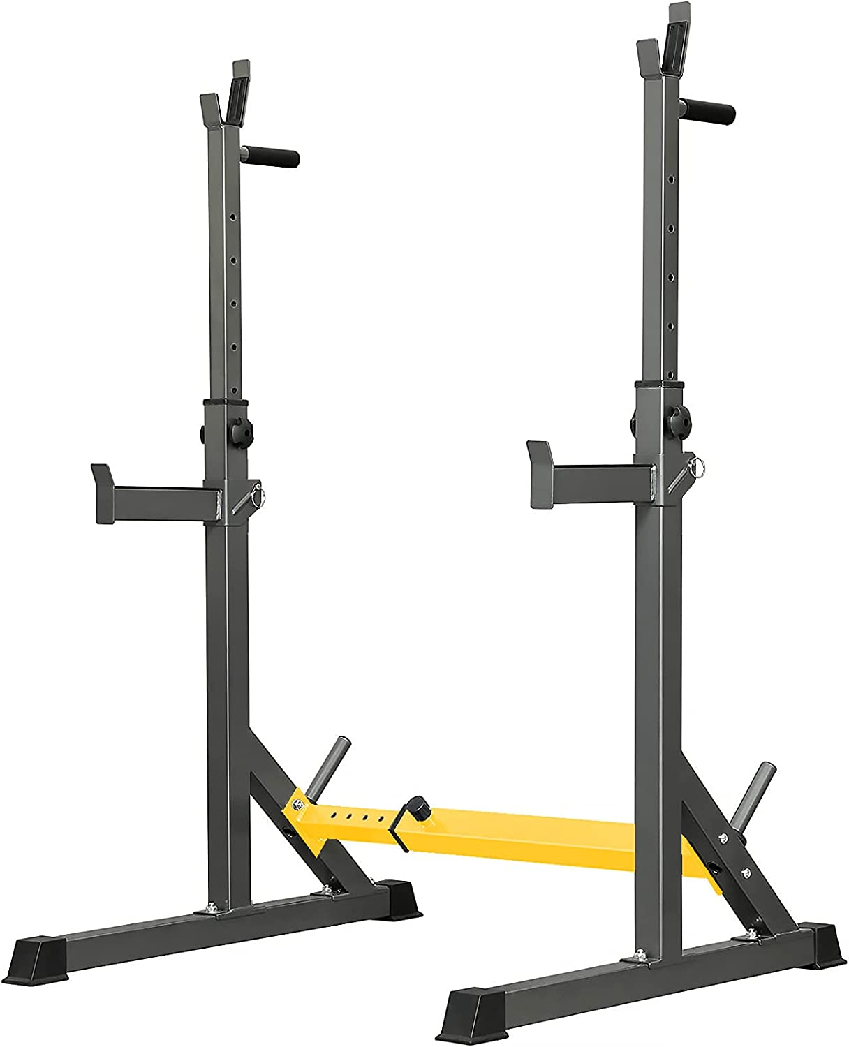 Qudodo Squat Rack Bench Press Multi-Function Barbell Rack, Maximum Load 500 lbs,Squat Rack Adjustable Height and Width, Super Long Bumper, Used for Commercial, Home Gym Portable Squat Rack