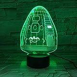 Lampada spaziale 3D Space X Dragon La migliore per gli appassionati di astronomia Lampada a LED a luce notturna a LED Regalo unico