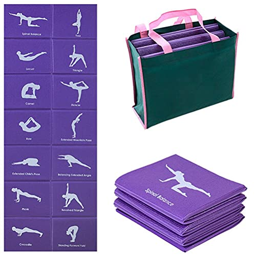 Sahoga Esterilla de yoga, plegable portátil de PVC, alfombrilla de ejercicio antideslizante con bolsa de transporte, tapete de entrenamiento multiusos para gimnasio en casa y fitness