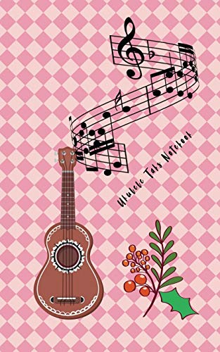 Ukulele Tabs Notebook: Composition and Songwriting Ukulele Music Song with Chord Boxes and Lyric Lines Tab Blank Notebook Manuscript Paper Journal ... Beginners or Musician with Pink Cover Theme