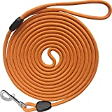 YUCFOREN 16FT/30FT/50FT/100FT Long Dog Leash, Check Cord Recall Training Rope Leash for Puppy Small Medium Large (16ft1/3, Orange)