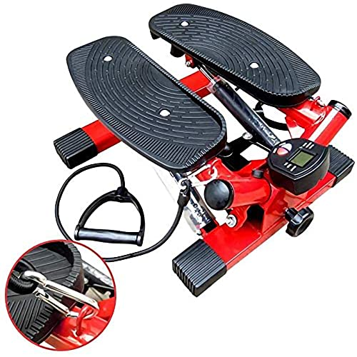 Fitness Step Swing Máquina Pasos,con Cintas Entrenamiento,para Principiantes y Usuarios Avanzados,con Mini Pantalla LCD Twist Stepper Ejercicio,Carga Máxima 120Kg